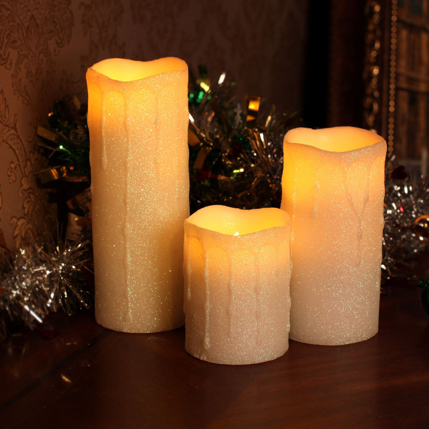 Dfl White Glitter Powder Dripping Flameless Wax Candle Lights Battery Operated Candles Candlelight White Glitter