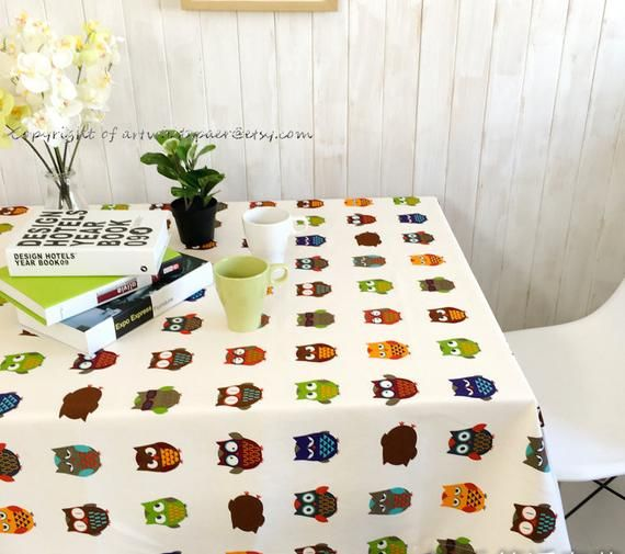 Oval Tablecloth Owl Animal Rectangle Square Round Child Party,Kids Nursery,Birthday Gift,Baby Shower,Child Playroom-Custom Pillow,FREEGIFT