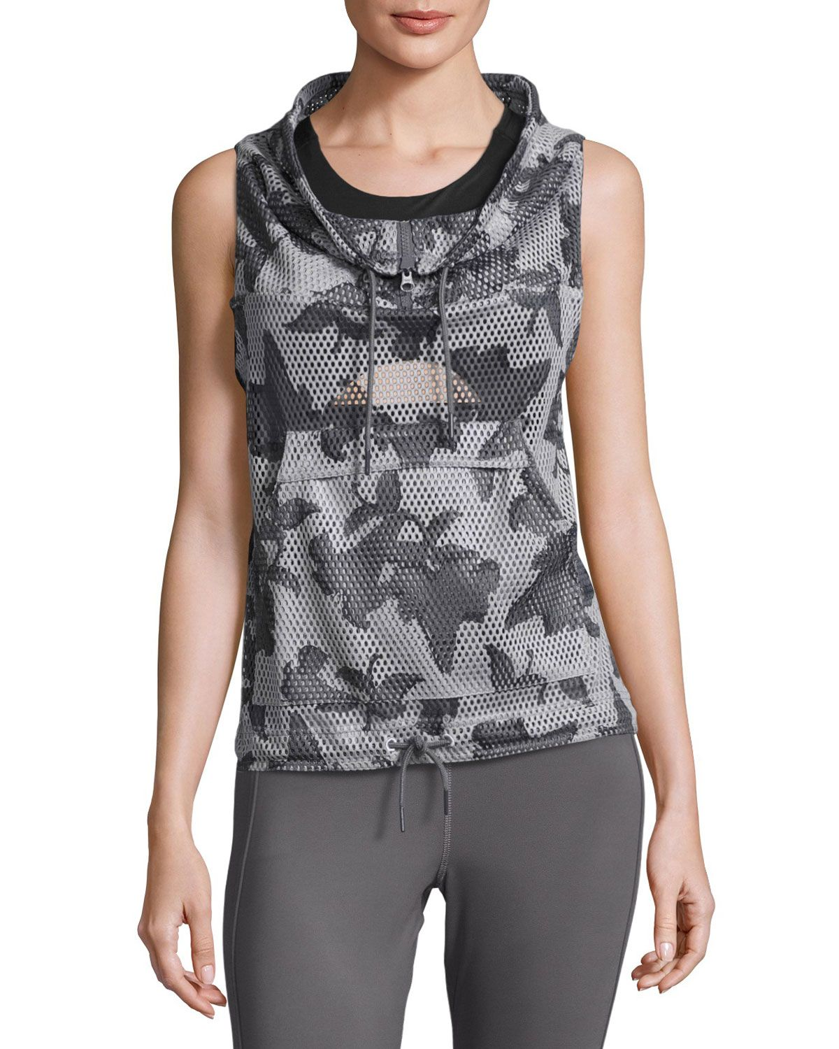 Flower Camo Funnel-Neck Gilet, Ice Gray/Granite