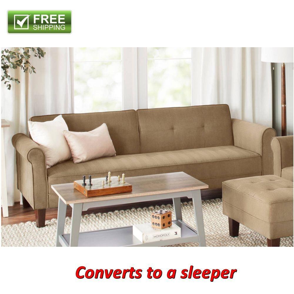 Amazing Microfiber Sofa Bed Beige Futon Convertible Couch Sleeper Evergreenethics Interior Chair Design Evergreenethicsorg