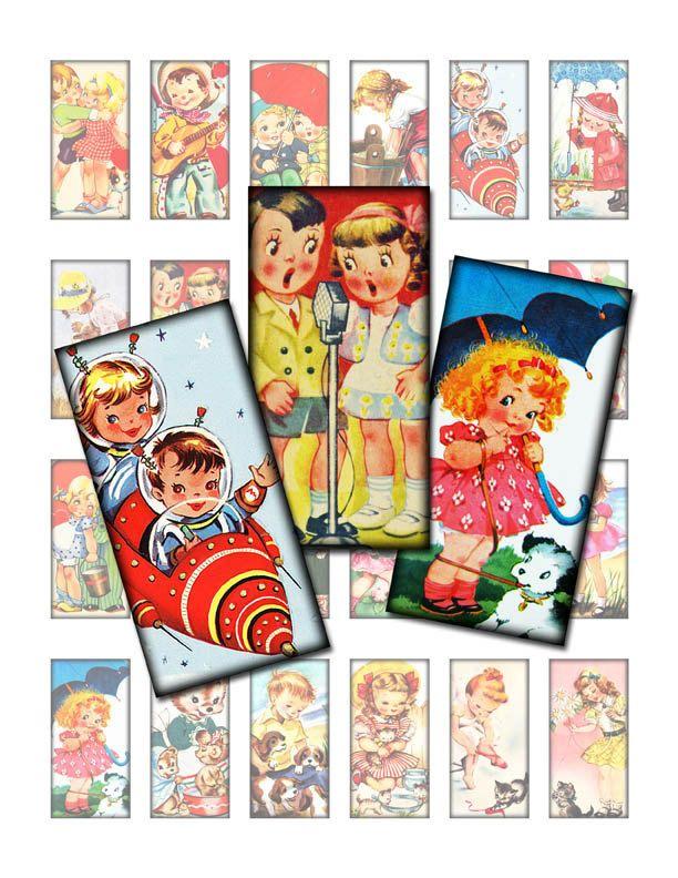 Digital Collage Sheet for Domino Pendants 1x2 inch Printable Graphics Retro Vintage Kids