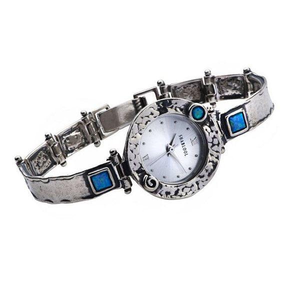 Shablool Israel blue simulated opal Sterling Silver 925 Bracelet for Lady
