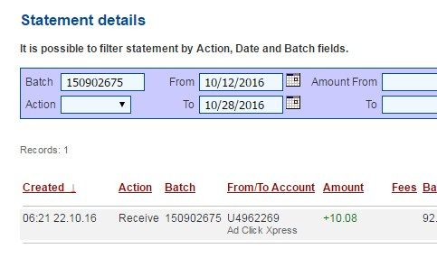 I'm getting paid daily at ACX and here is proof of my latest withdrawal. This is not a scam and I love making money online with Ad Click Xpress.  Join for FREE and get 20$ + 10$ + 5$ Monsoon, Ad and Media value packs from ACX.  My #225 Withdrawal Proof of online income from AdClickXpress.