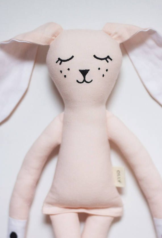 Pink and Warm Grey Bunny Rabbits soft toy: Handmade with eco-friendly materials