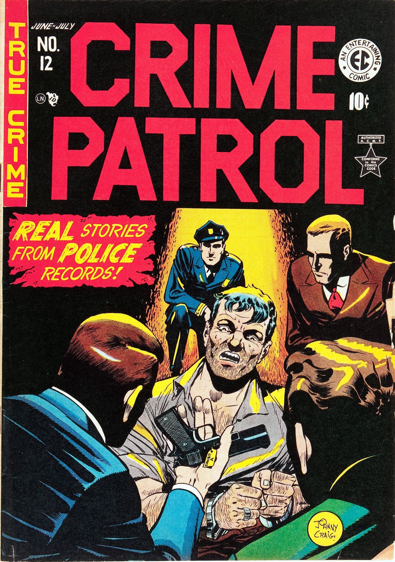 Original and final cover art by Johnny Craig from Crime Patrol #12, published by EC Comics, June 1949.