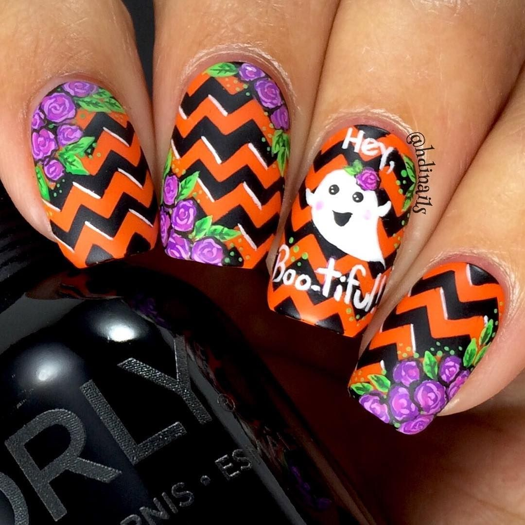 Black & Orange Chevron and Ghosts Halloween Nails with ...