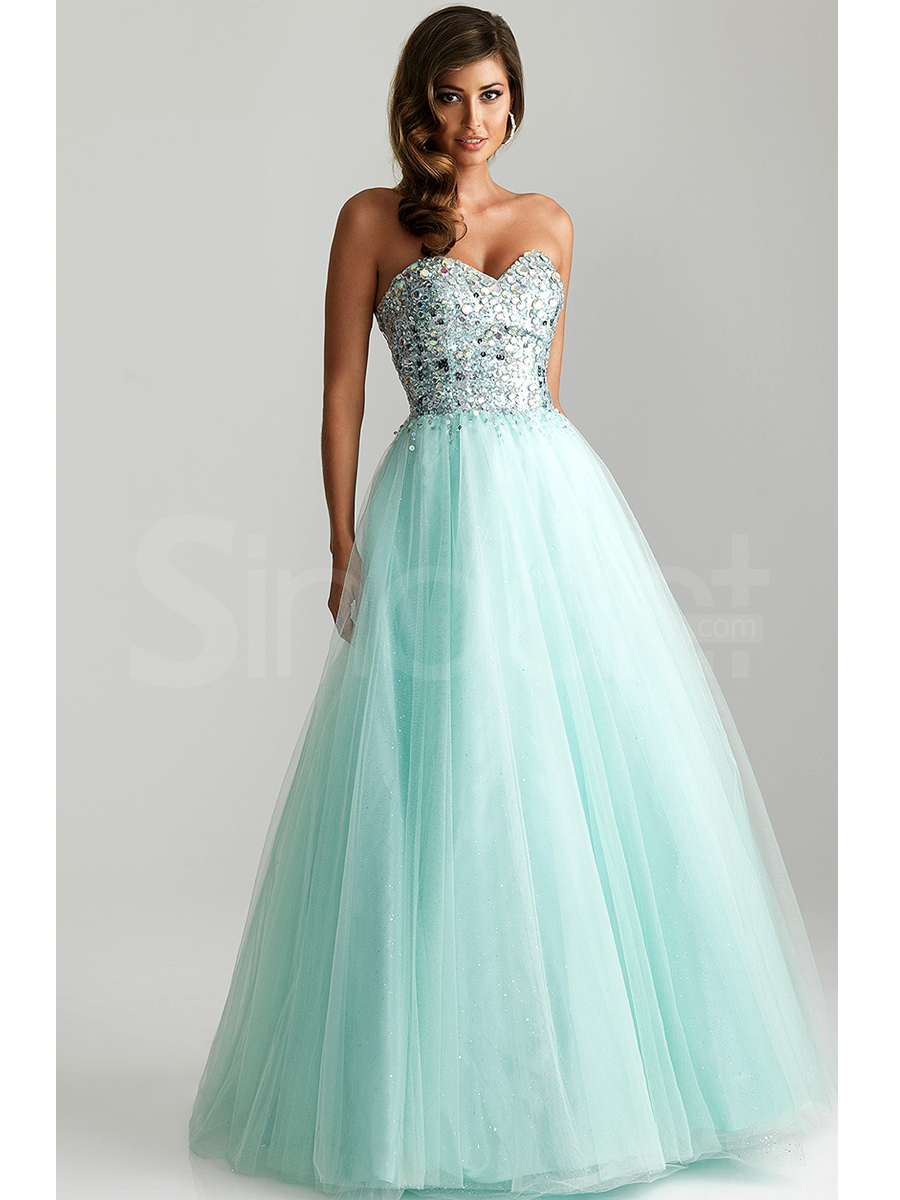 Charming Shiny Ball Gown Sweethewart Floor Length Graduation Dress ...