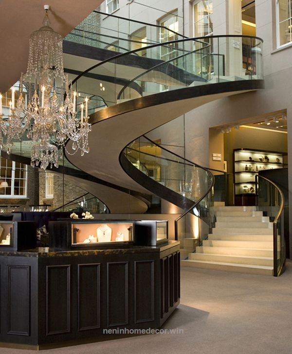 Expensive Home Decor Stores: Glass-marble Staircase: So Elegant. The Spiral Adds A