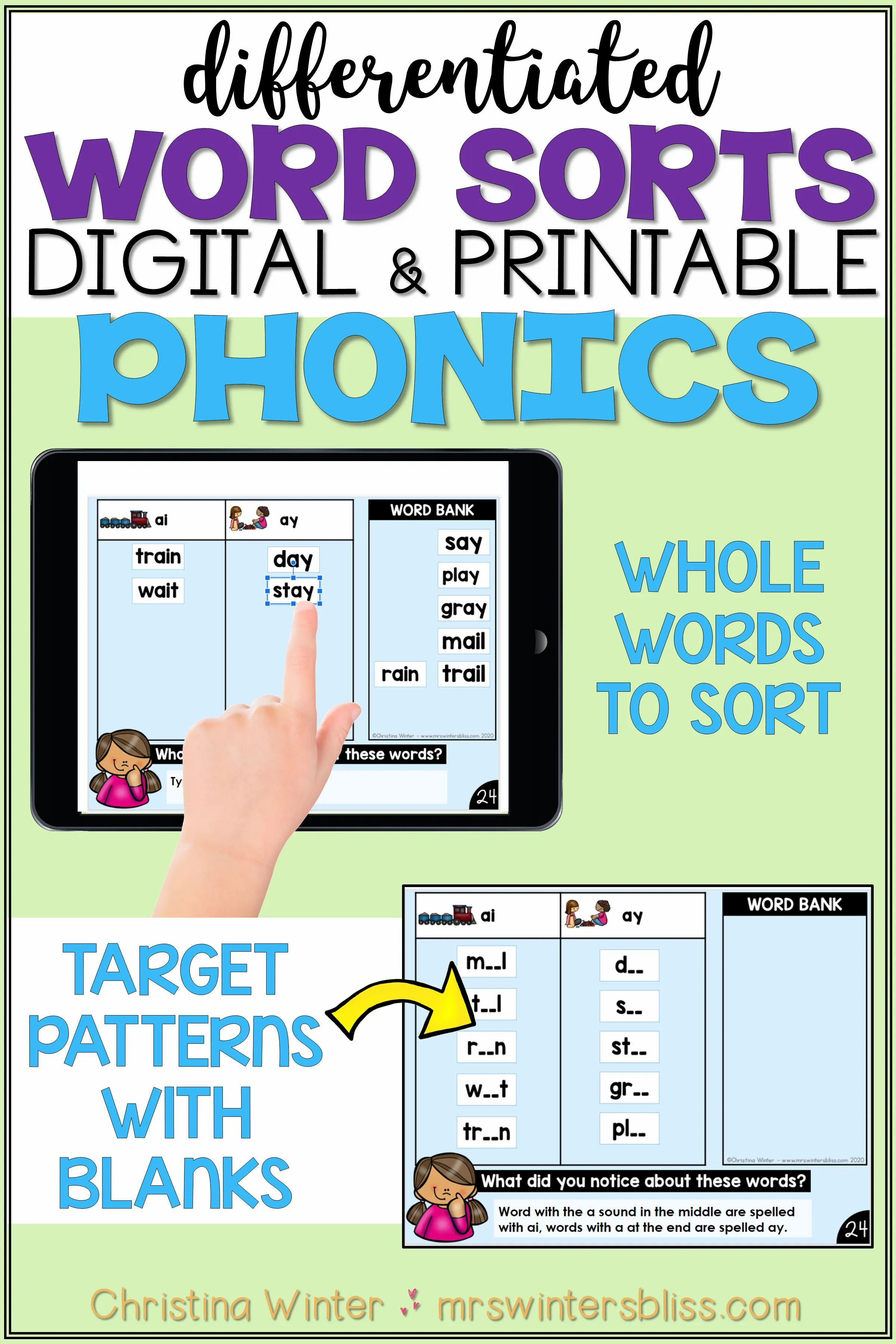 Word Sort Phonics Activities In
