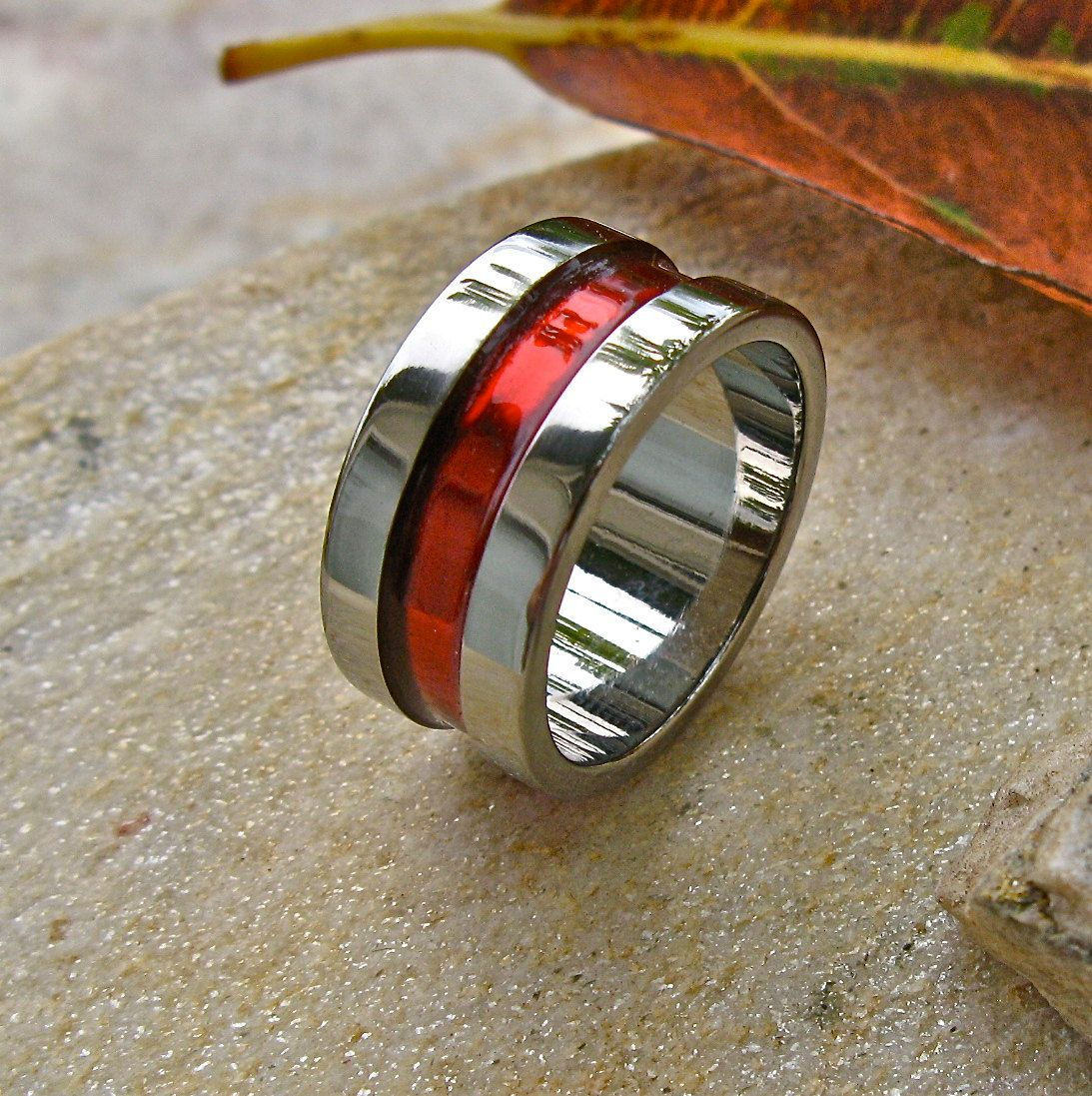 Firefighter's Thin Red Line Titanium Wedding Band  Promise Ring  Wide Ring