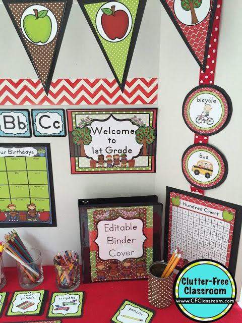 picture relating to Free Printable Classroom Decorations known as Apple Themed Clroom - Guidelines Printable Clroom