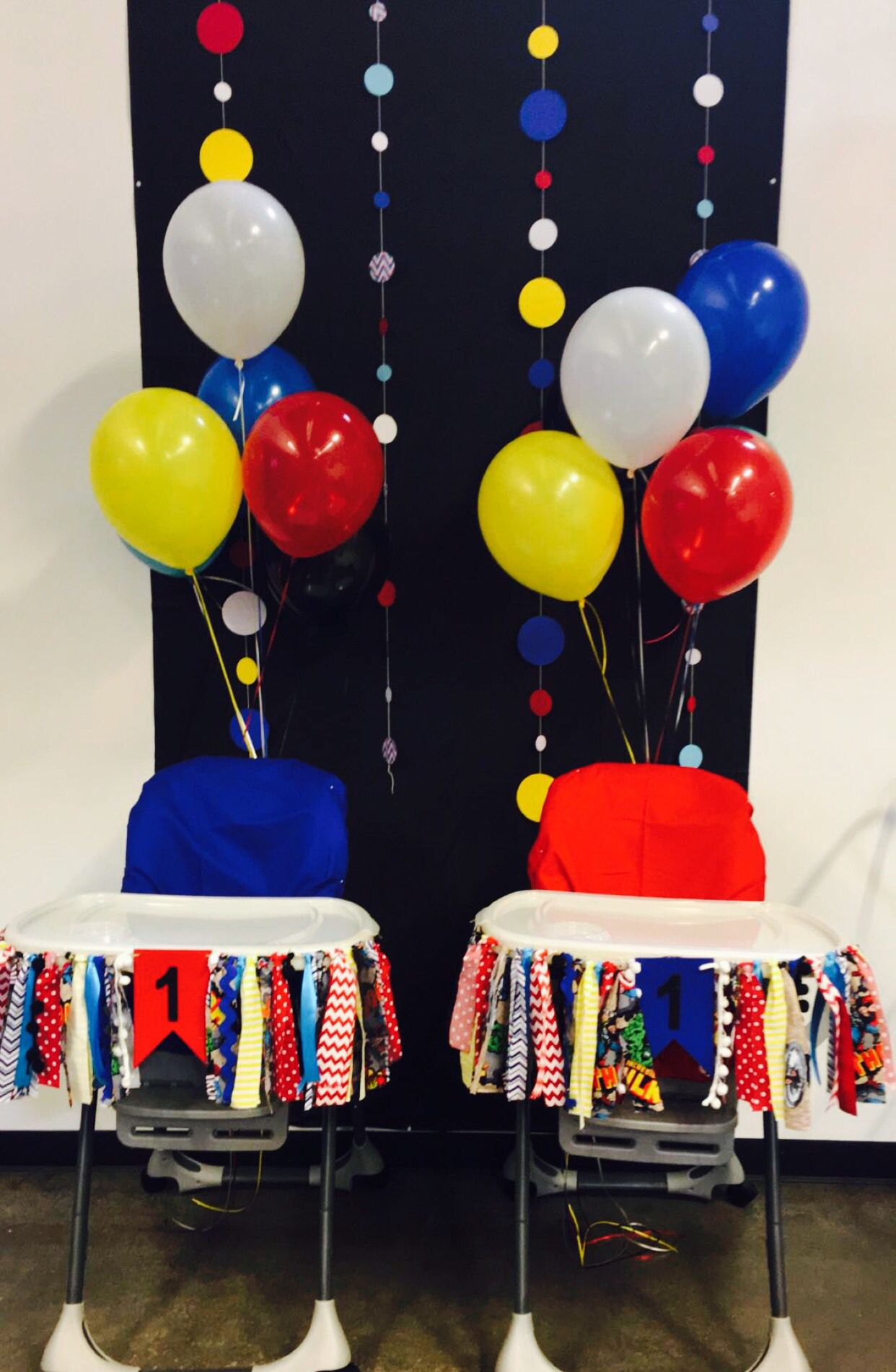 Superhero themed twin first birthday party Circus 1st