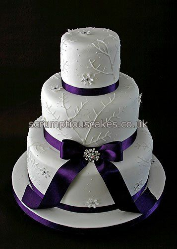 Wedding Cake 686 Piping Snowflakes Purple Ribbon Shower