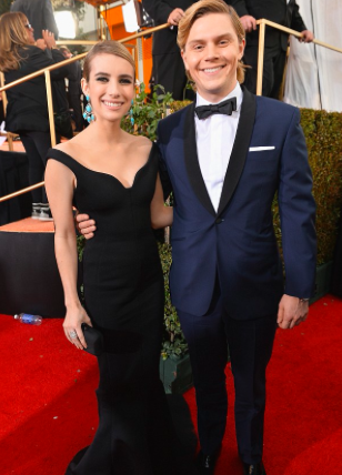 Emma Roberts & Evan Peters at the Golden Globes