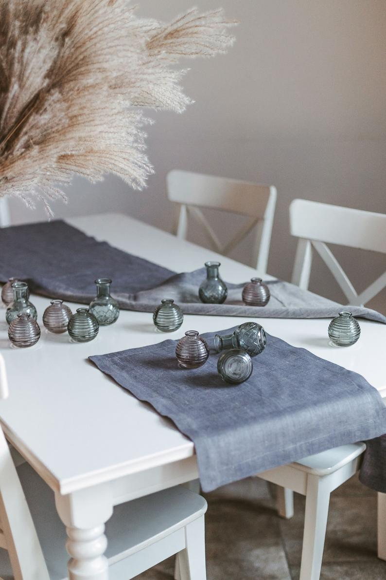 Grey Linen Modern Placemats Set Dining Table Mats Wedding Table
