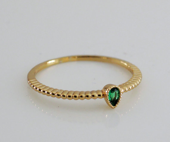 Ring Gold Ring Emerald Green cz Skinny by FreshJewelryDesign