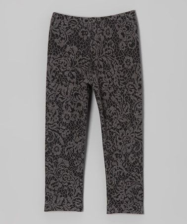 Take a look at this Gray Floral Jacquard Leggings - Infant, Toddler & Girls by Dreaming Kids on #zulily today!