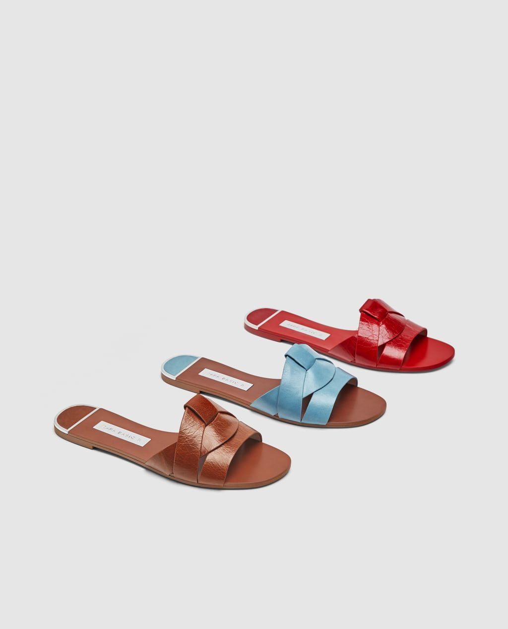 e5c6e5bf3 LEATHER CROSSOVER SANDALS-Flat sandals-SHOES-WOMAN | ZARA India ...