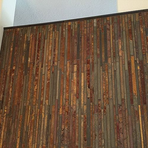Bathroom Wall Accent Tiles For Florida Condo: The Accent Wall Came Out Nice! Tile Is A Copper Rust
