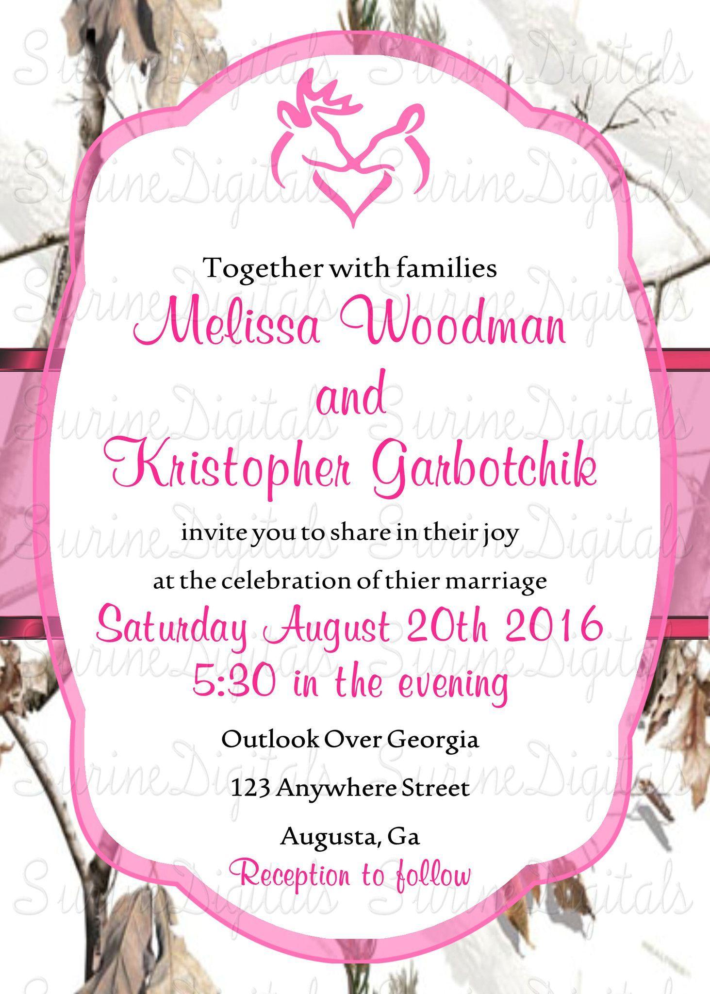 Snow Camo With Pink Wedding Invitation set/ White Camo Wedding ...