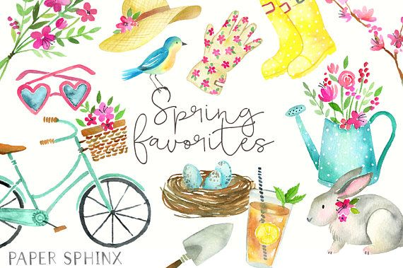 Watercolor Spring Clipart Spring Clip Art Flowers Spring