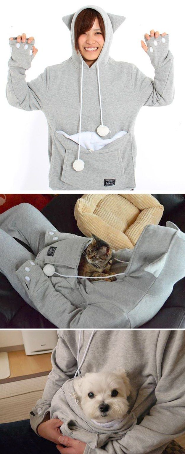 22 Insanely Cozy things that will make you crave colder weather. #1 This pet pouch sweatshirt. I need this!