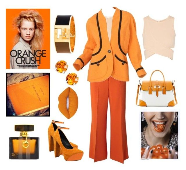"""Work in Orange"" by iglifenevereasy ❤ liked on Polyvore featuring Sportmax, Jonathan Simkhai, Chanel, Dooney & Bourke, Fendi, L. Erickson, Gucci, Lime Crime, Olsen and orange"