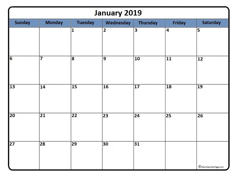 photo about Monthly Printable Calendars called January #calendar #printable January 2019 printable calendar