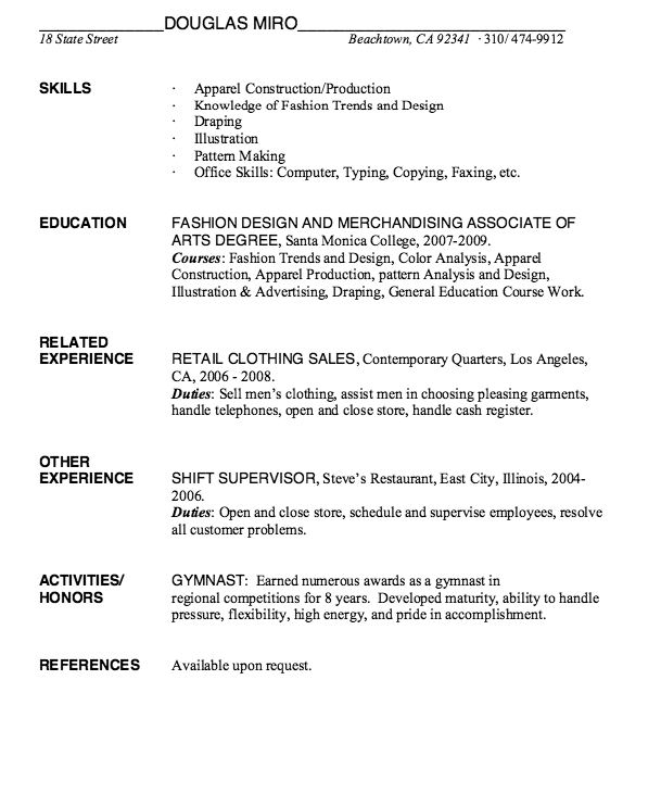 Fashion Design Resume Example  HttpResumesdesignComFashion