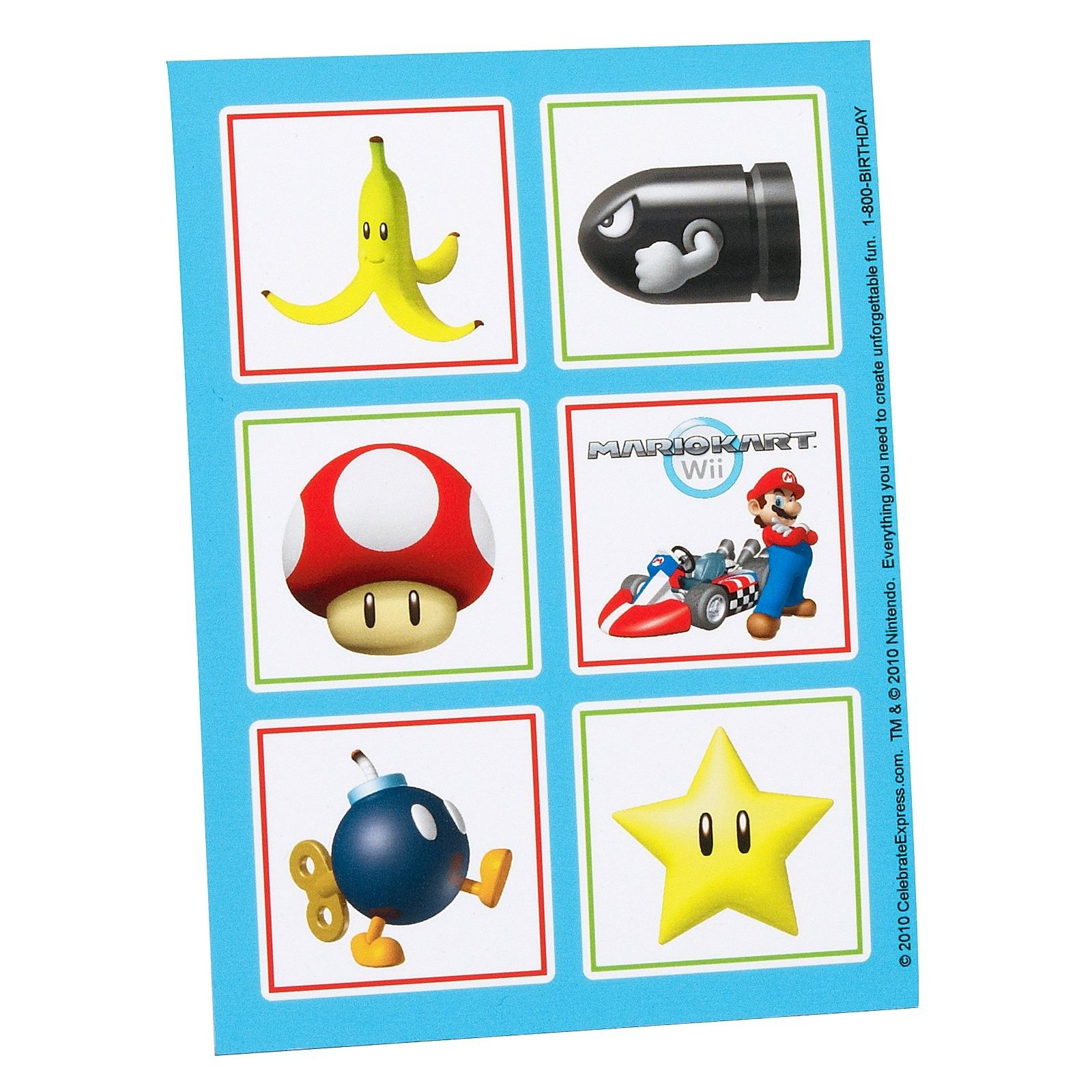 Mario Kart Wii Sticker Sheets - Includes 4 Sticker Sheets.
