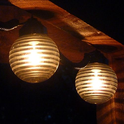 Awning Lights - 6 Globes (Etched Bronze & Black cord ...