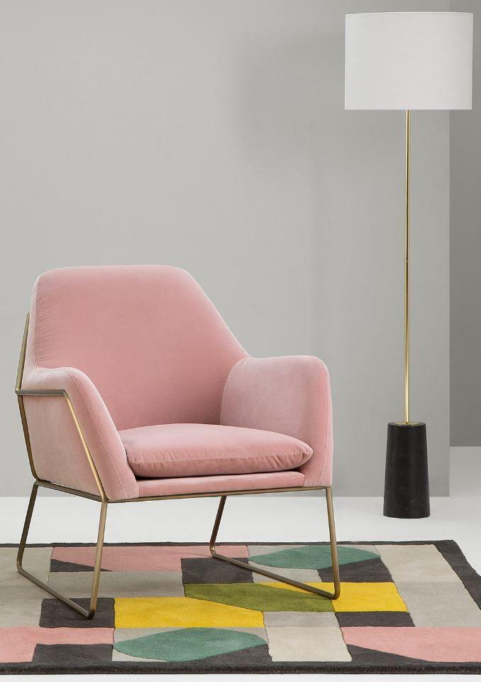 Frame Accent Armchair Blush Pink Cotton Velvet Pink Armchair