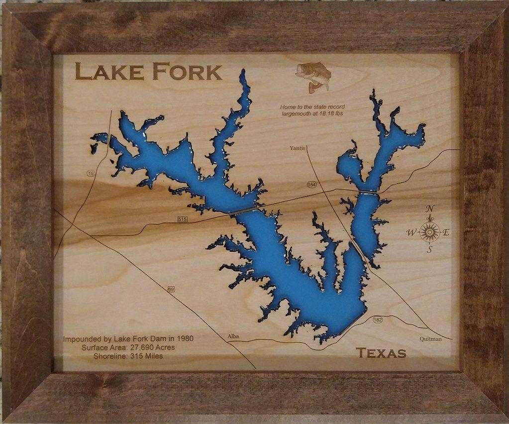 Map Of Quitman Tx.Lake Fork Texas Wood Laser Cut Map In 2019 Lake Fork Texas