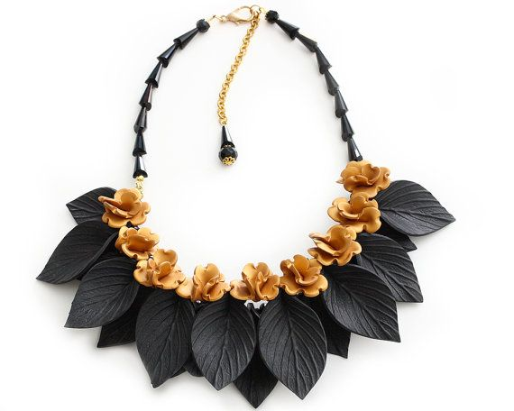 Gold Flower and Black Leaf Necklace Statement Jewelry Polymer Clay