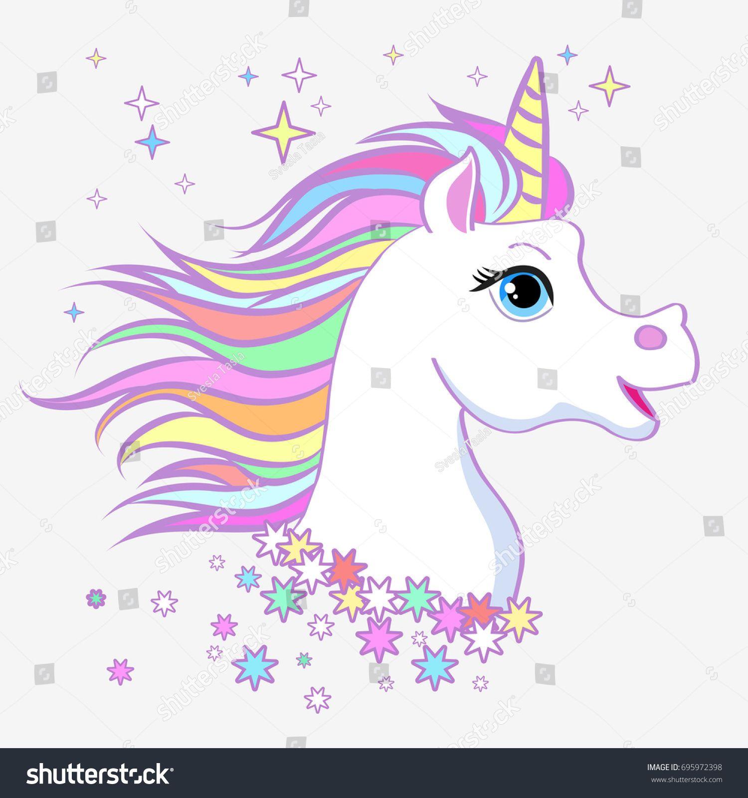 Unicorn Head Portrait Vector Illustration Magic Fantasy Horse