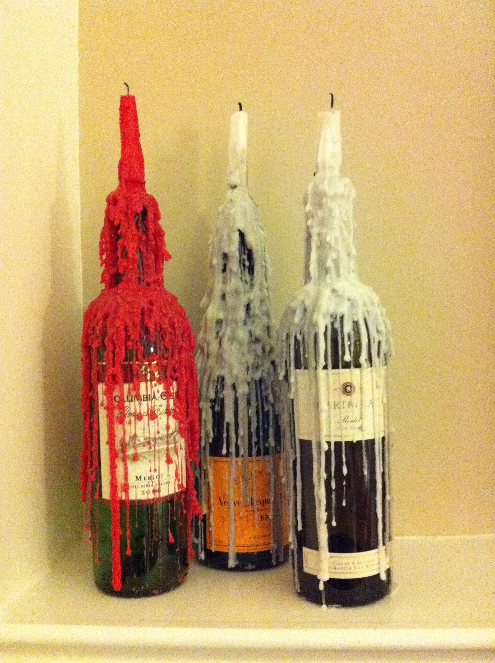 Wine bottle candle holder fun project i used them as for Einrichtung italienischer stil