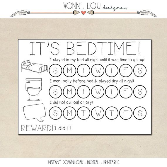 Bed Time Routine - Bed Time Reward Card - Toddler Charts