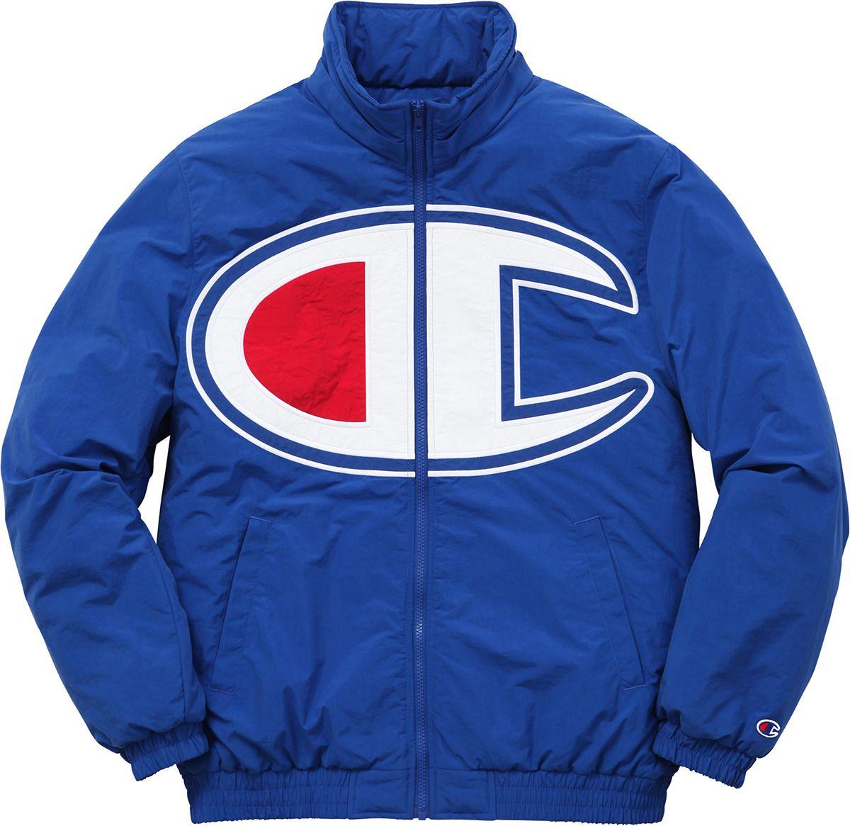 Supreme Supreme Champion Puffy Jacket Puffy Jacket Champion Sportswear Blue Puffer Jacket [ 1166 x 1200 Pixel ]