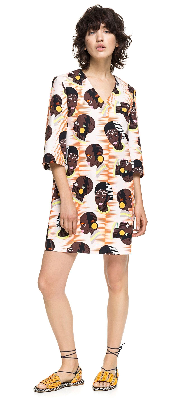 a9d13eb9f8f7 Bimba y Lola NUDE POP PRINT DRESS ETHNIC DRESS
