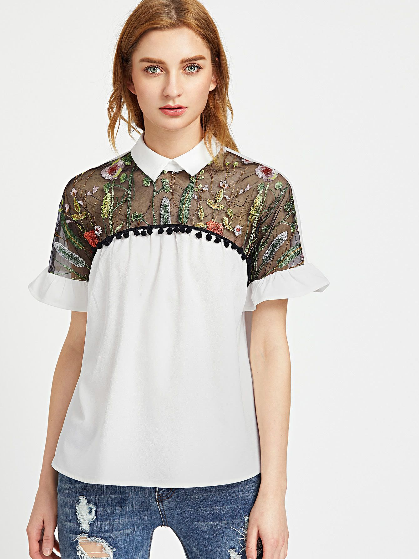 4b7e1fe1706 Shop Contrast Embroidered Mesh Yoke Ruffle Sleeve Top online. SheIn offers  Contrast Embroidered Mesh Yoke Ruffle Sleeve Top & more to fit your  fashionable ...