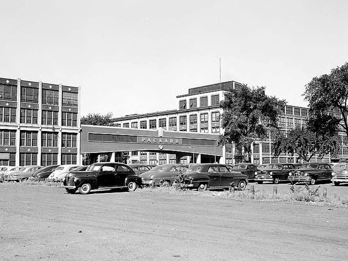 Exterior View Of The Packard Factory In Detroit In Motor City