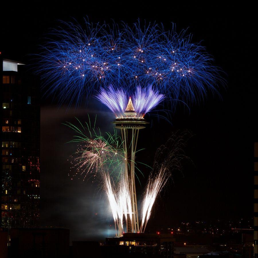 Seattle 2012 New Year Fireworks Photo by Sky O'Mara Blue