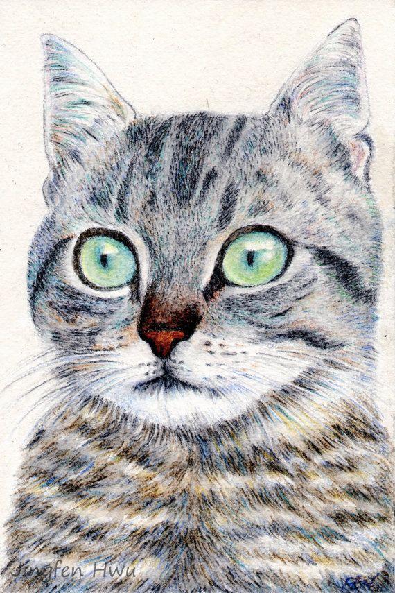 Aceo Print Cat Art Painting Buy 3 Get 1 Free A Grey Tabby By Jingfenhwu Cat Eyes Green Eyes Aqua C Small Art Prints Custom Cat Portrait Cat Art Painting