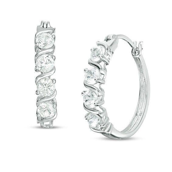 Zales Lab-Created White Sapphire Multi-Row Huggie Hoop Earrings in Sterling Silver 0NZmhxi
