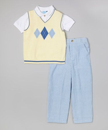 Look what I found on #zulily! Yellow Argyle Sweater Vest Set - Infant & Toddler #zulilyfinds
