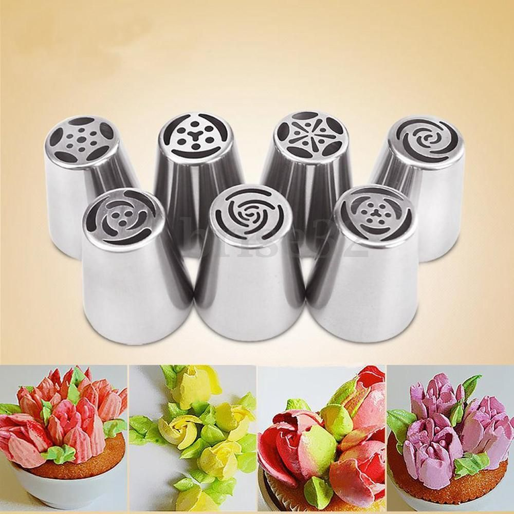 7Pcs Russian Tulip Flower Cake Icing Piping Nozzles Decorating Tips ...
