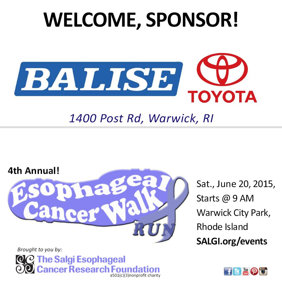 Join Us In Welcoming Balise Toyota Of Warwick As A Sponsor Of The 4th  Annual Esophageal
