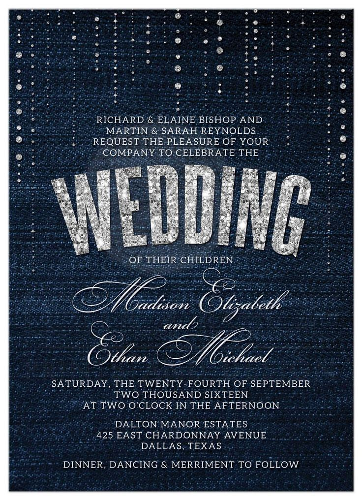 Wedding Invitations Denim Diamonds