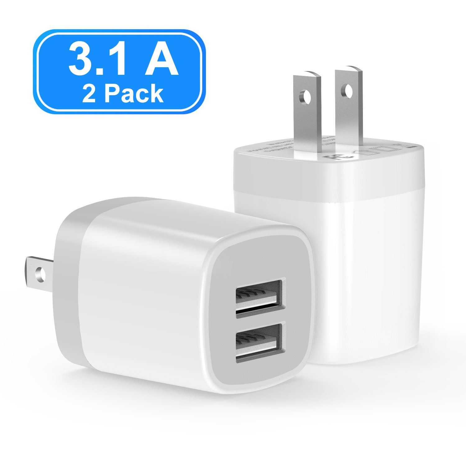 USB Wall Charger HTC Moto Samsung Galaxy Dodoli 2-Pack 2.4A Dual Port 12W Wall Charger Block Adapter Charging Cube Box Compatible iPhone Xs//XS Max//XR//X//8//8 Plus//7//6S// 6S Plus USB Plug