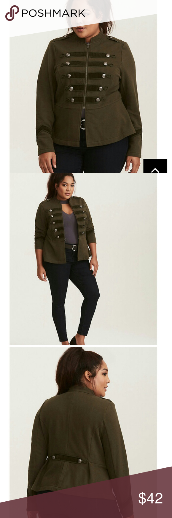3b36327d333 Torrid embellished zip front military jacket The military trend is taking  orders from you this season! Thick olive green knit gives a high-ranking  look and ...